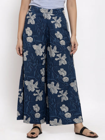 Enchanted Drapes Blue Floral Printed Cotton Women's Palazzo