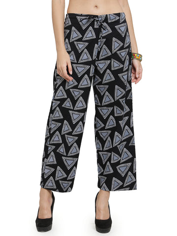 Enchanted Drapes Black Triangle Printed Women's Cotton Pants