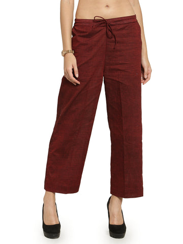 Enchanted Drapes Maroon Solid Women's Cotton Pants