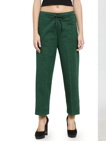 Enchanted Drapes Green Solid Women's Cotton Pants
