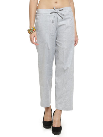 Enchanted Drapes Grey Solid Women's Cotton Pants