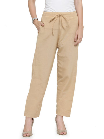 Enchanted Drapes Beige Solid Women's Cotton Pants