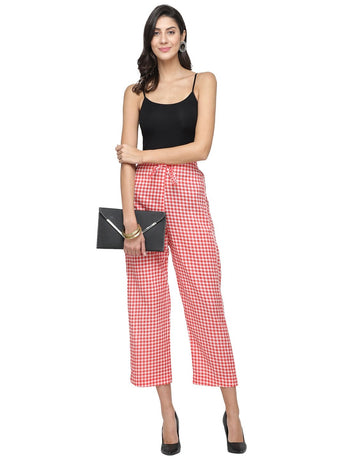 Enchanted Drapes Red Cheque Women's Cotton Pants