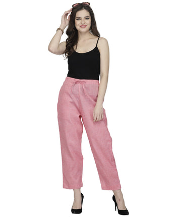 Enchanted Drapes Pink Solid Cotton Pants