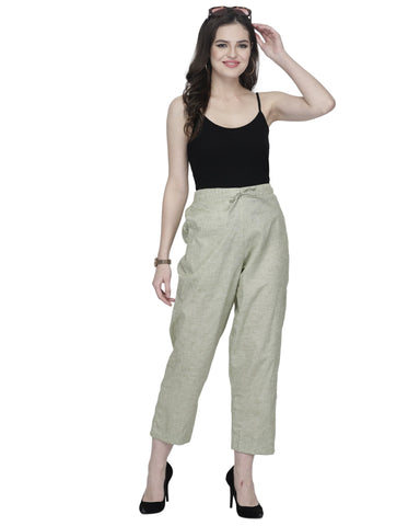 Enchanted Drapes Light Green Solid Cotton Pants