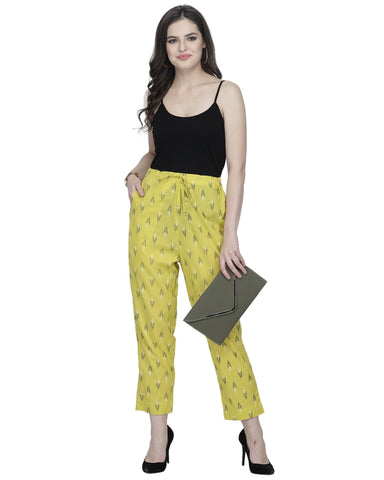 Enchanted Drapes Yellow Printed Cotton Pants