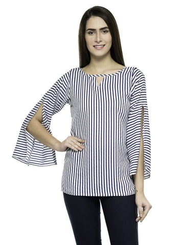 Enchanted Drapes White Stripes Top