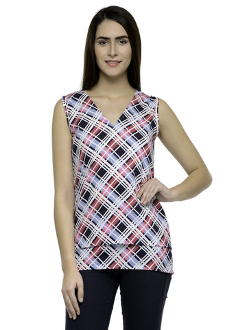 Enchanted Drapes Multicolored checkered crepe regular top