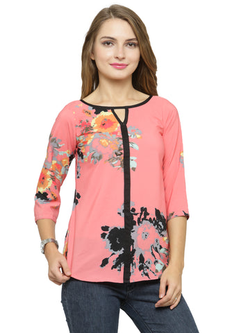 Enchanted Drapes Women's Pink Printed Crepe Top