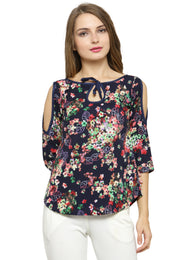 Enchanted Drapes Women's Navy Blue Crepe Top