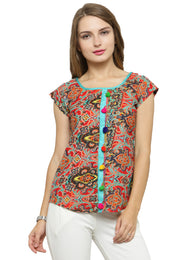 Enchanted Drapes Women's Red Yellow Crepe Top