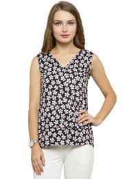 Enchanted Drapes Women's Black Pink Floral Crepe top