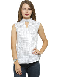 Enchanted Drapes Women's White Dots Crepe Top