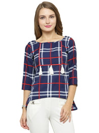 Enchanted Drapes Women's Blue Red Checks Crepe Top