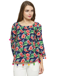 Enchanted Drapes Women's Blue Red Floral Crepe Top