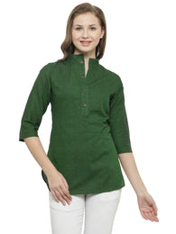 Enchanted Drapes Women's Green Solid Cotton Top