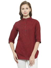 Enchanted Drapes Women's Maroon Solid Cotton Top