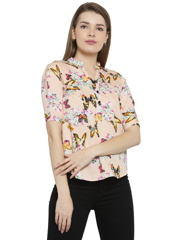 Enchanted Drapes Women's Beige Butterfly Crepe Top