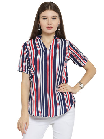 Enchanted Drapes Women's Blue Red Stripes Crepe Top