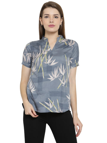 Enchanted Drapes Women's Grey Printed Crepe Top