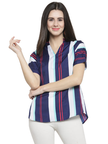 Enchanted Drapes Women's Multicolor Stripes Crepe Top