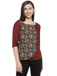 Enchanted Drapes Women's Maroon Black Jaipuri Cotton Top