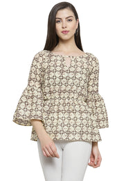 Enchanted Drapes Women's Beige Cotton Top