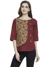 Enchanted Drapes Women's Mustard Maroon Printed Cotton Top