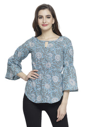 Enchanted Drapes Women's Blue Printed Cotton Top