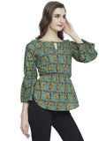 Enchanted Drapes Women's Blue Green Printed Cotton Top