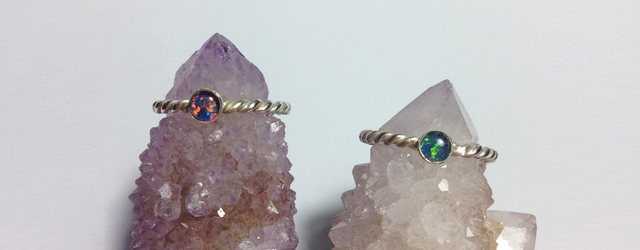 Handmade sterling silver opal rings. Synergetic Creations