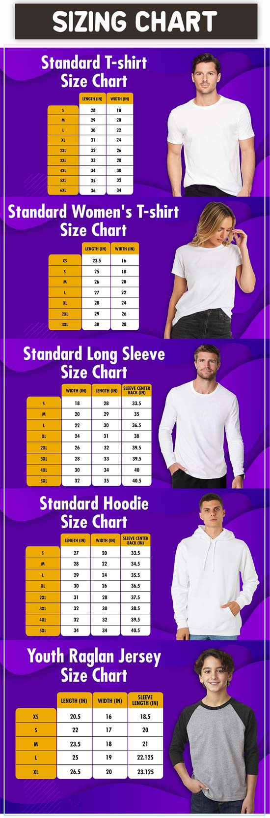 Furytee Apparel sizing chart