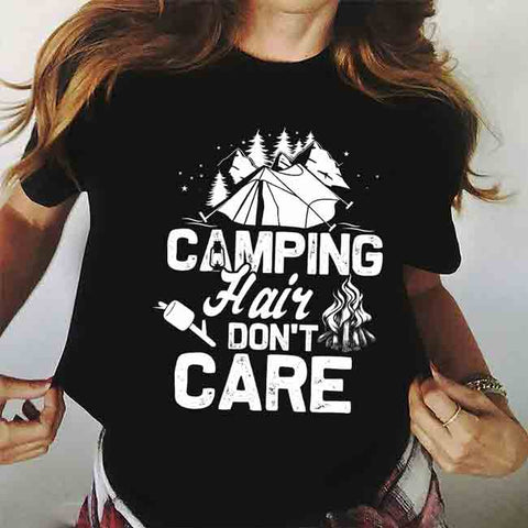 Camping Hair Don't Care Standard T-shirt - FURYTEE