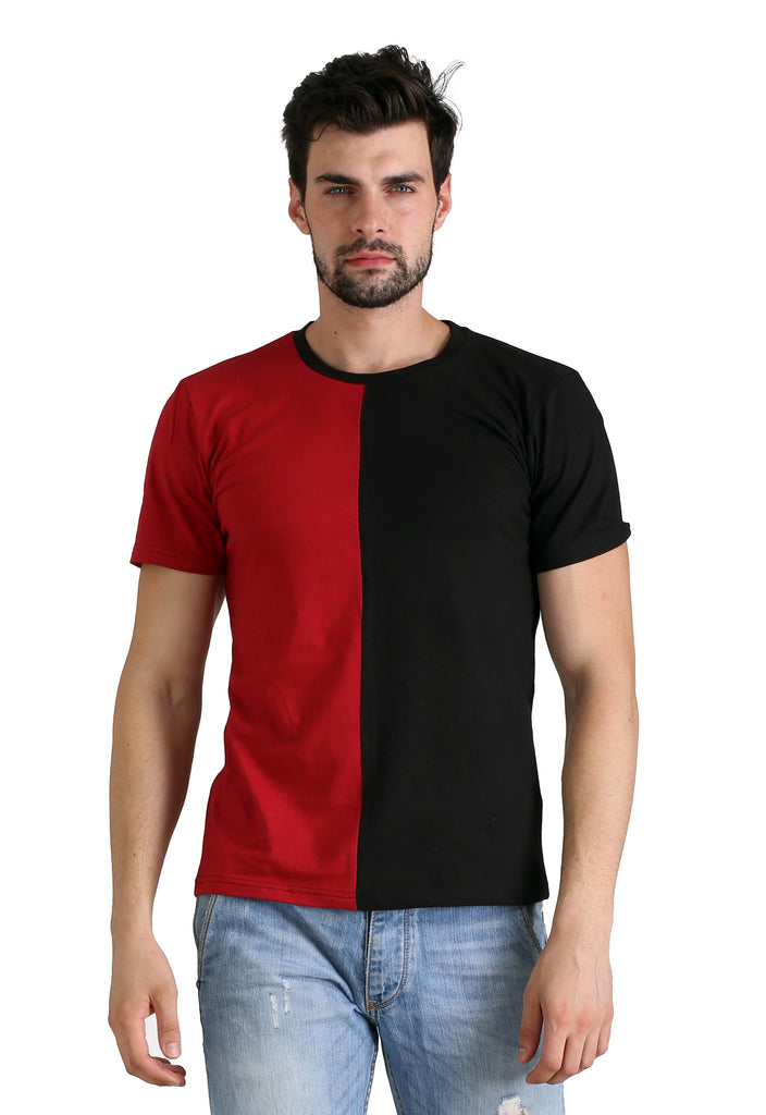 Half Panel Red Black Tshirt – Madbow