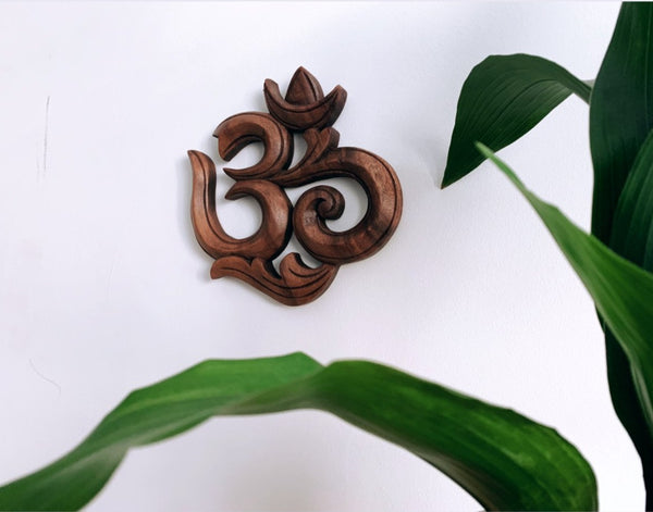 Hand Carved Wooden Om Symbol