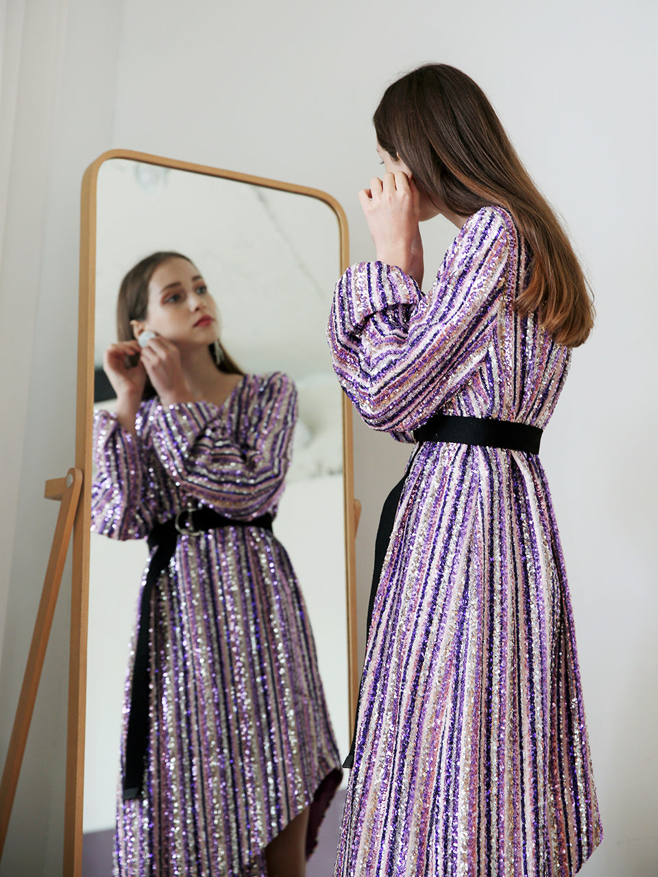 GABRIELLE MULTICOLOR SEQUINED WRAP DRESS