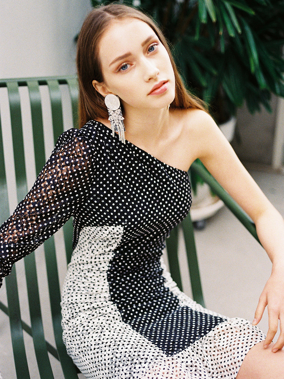 DIANE ONE SHOULDER POLKADOT FRILL DRESS