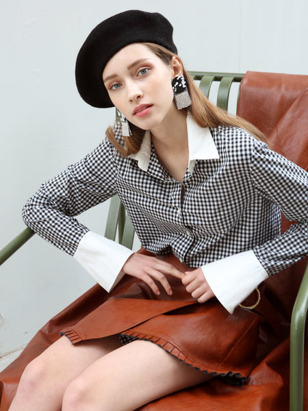 ANNA COTTON POPLIN SHIRT_GINGHAM