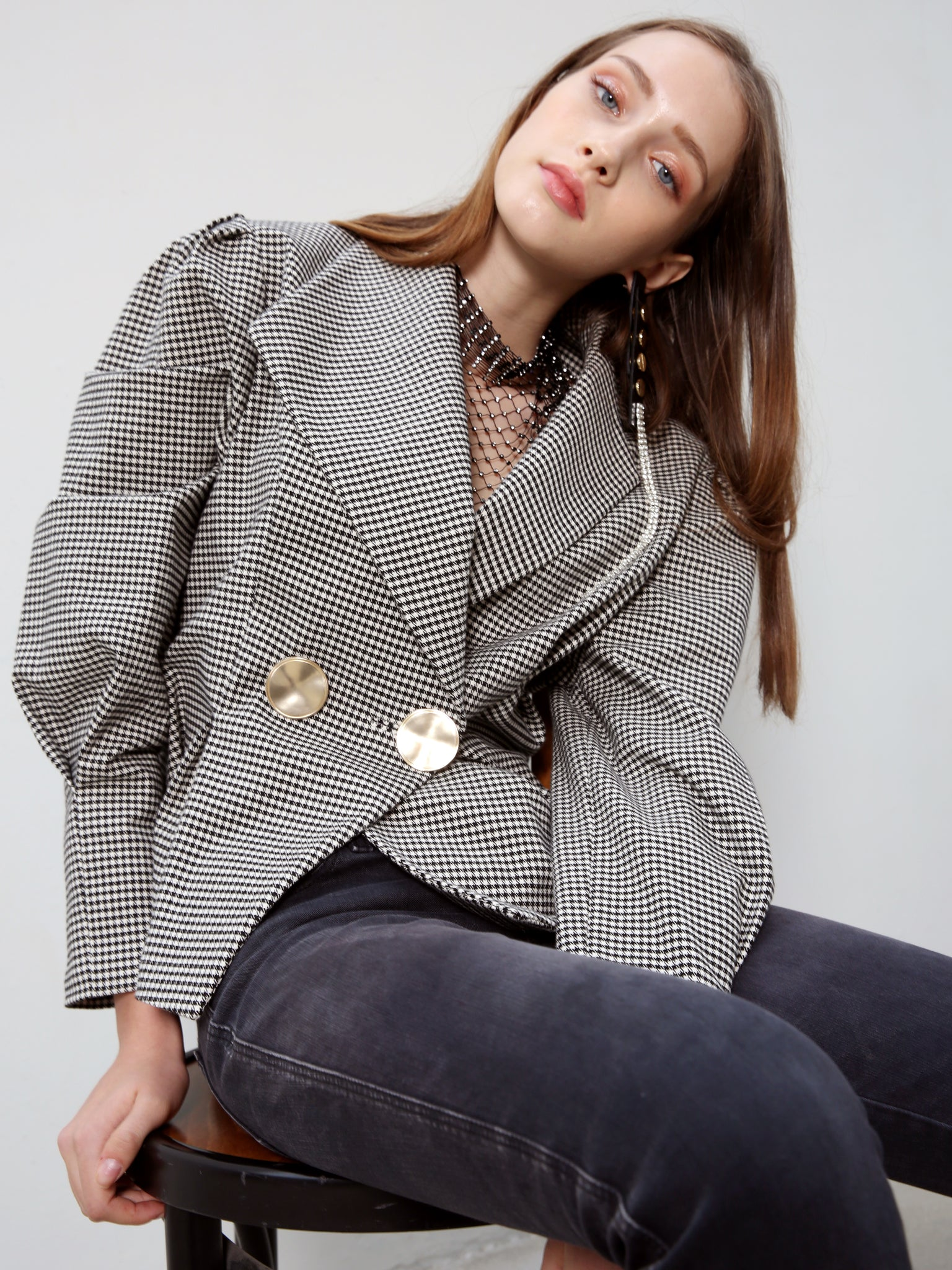 ADELE HOUNDSTOOTH GOLD BUTTON JACKET TOP