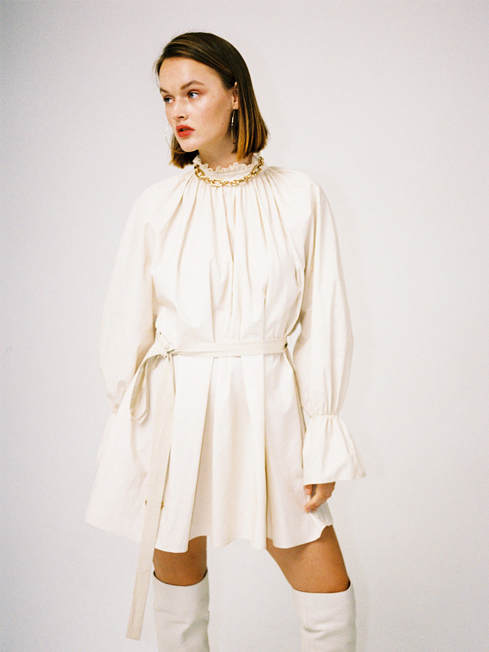 MELODY SHIRRING TUNIC_EGGSHELL