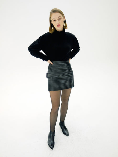 AMY QUILTED FAUX LEATHER MINI SKIRT