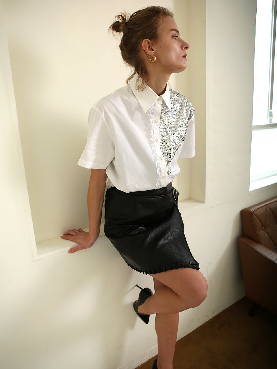 JUDY SEQUINED SHORT SLEEVE SHIRT
