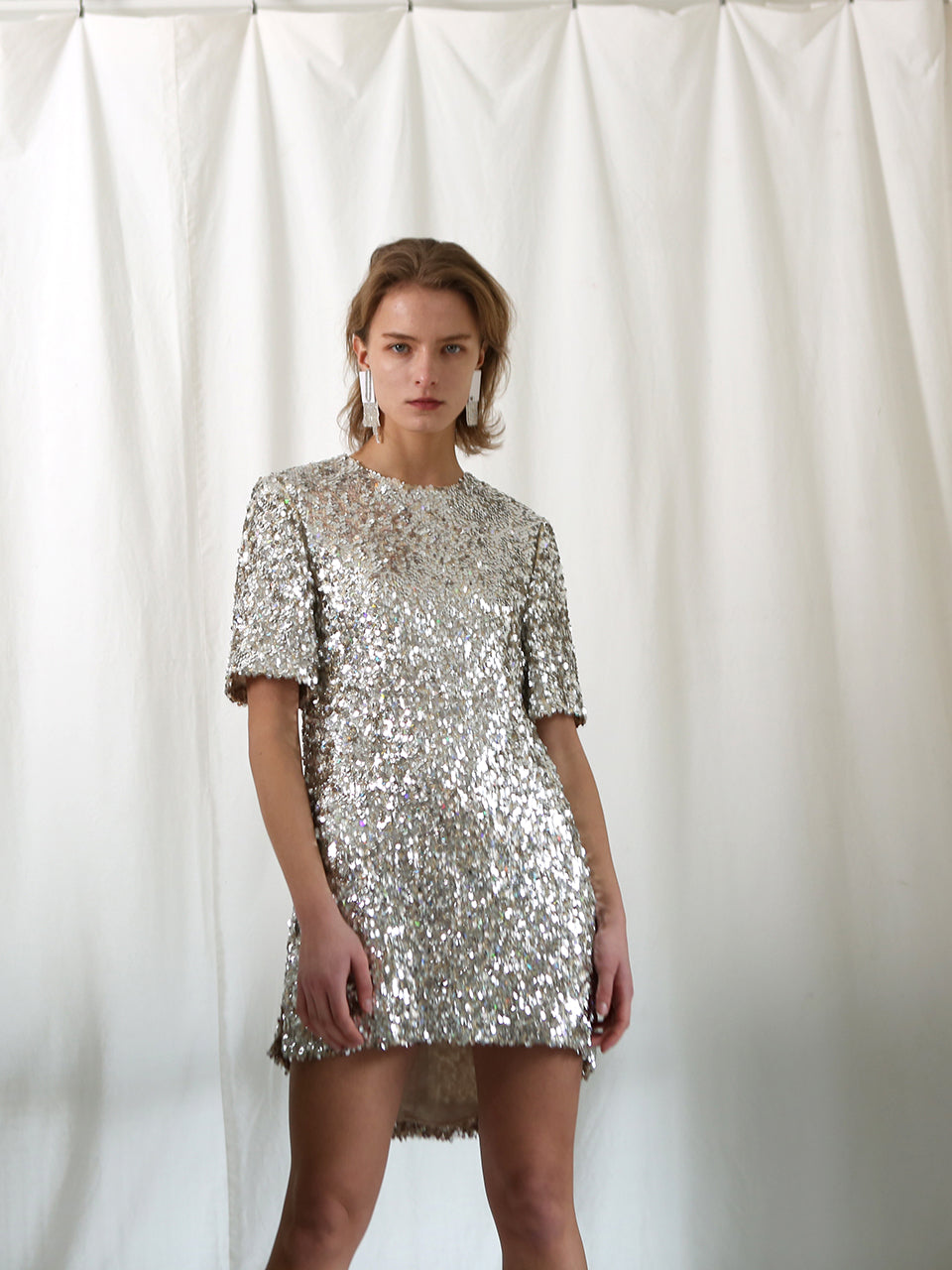 BIANCA SHORT SLEEVE SEQUIN DRESS
