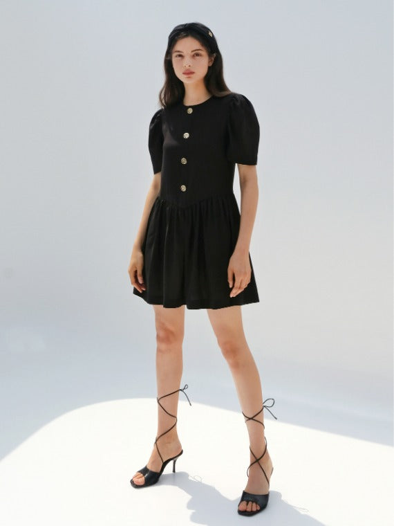 SELINA BUTTON MINI DRESS_BLACK