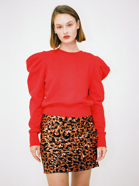KATE PUFF SHOULDER SWEATSHIRT_RED