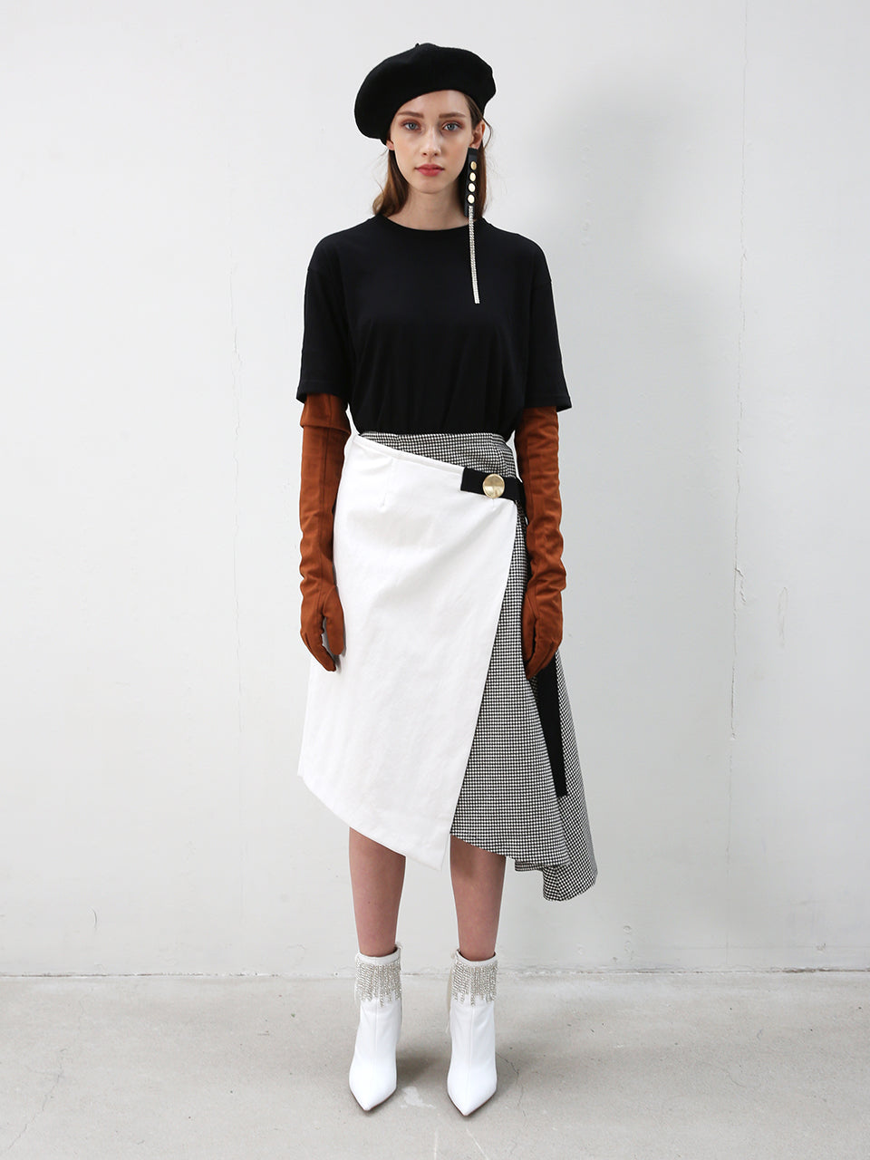LEA HOUNDSTOOTH & LEATHER WRAP SKIRT