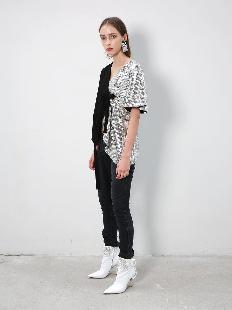 JULIA HALF SEQUIN WRAP TOP