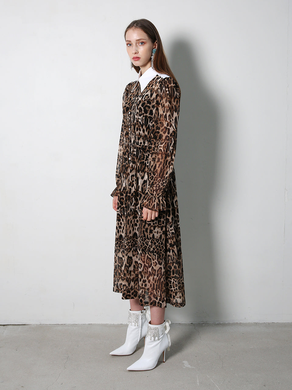SASHA LEOPARD SHIRT COLLAR MIDI DRESS