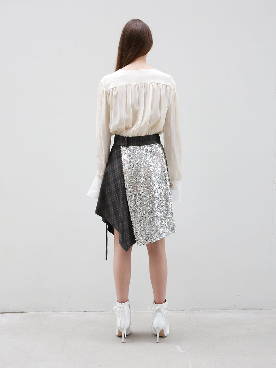 ANAIS SEQUINED UNBALANCED WRAP SKIRT