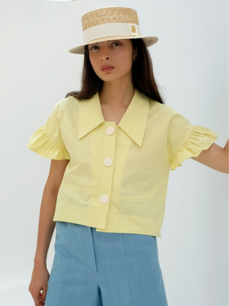 BILLIE FRILLED BLOUSE_LEMON
